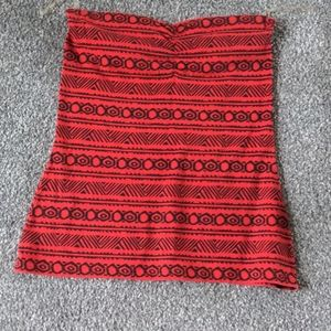 Red tribal tube top